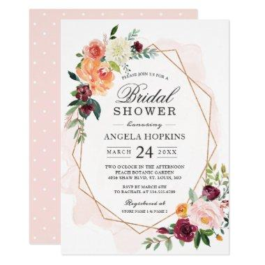 Geometric Blush Watercolor Floral Bridal Shower Invitations