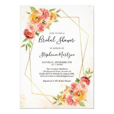 Geometric Fall Floral Watercolor Bridal Shower Invitations