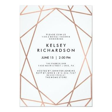 Geometric Faux Rose Gold on White Bridal Shower Invitations