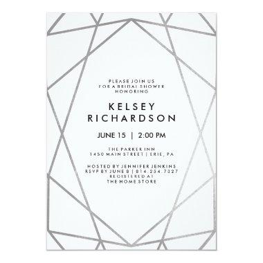 Geometric Faux Silver on White Bridal Shower Invitations