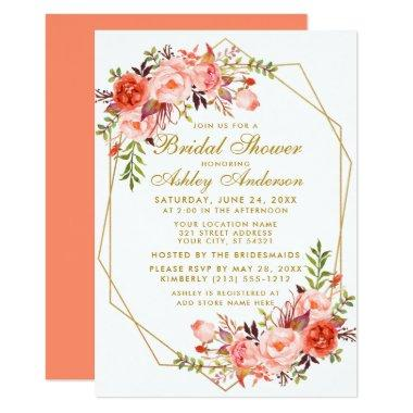 Geometric Gold Coral Floral Bridal Shower Invitations