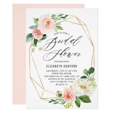 Geometric Gold Frame Peach Florals Bridal Shower Invitations