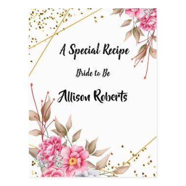 Geometric Gold Frame Pink Floral Bridal Shower PostInvitations