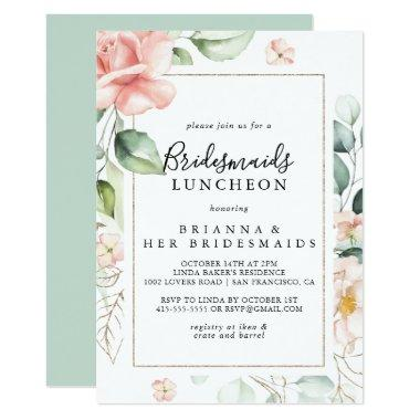 Geometric Gold Green Bridesmaids Luncheon Shower Invitations