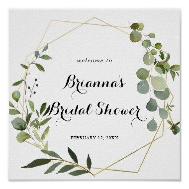 Geometric Gold Tropical Bridal Shower Welcome Poster
