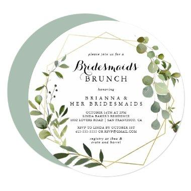 Geometric Gold Tropical Bridesmaids Brunch Shower Invitations