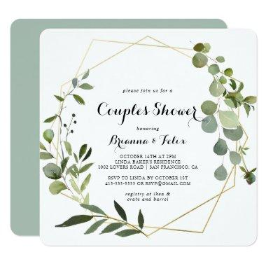 Geometric Gold Tropical Green Couples Shower Invitations
