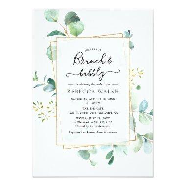 Geometric Greenery Brunch and Bubbly Bridal Shower Invitations
