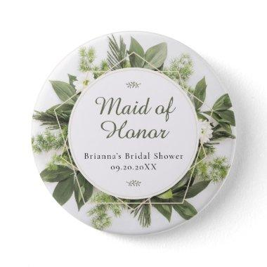 Geometric Greenery Foliage Frame Bridal Party Role Button