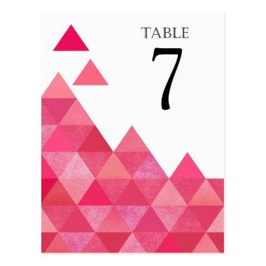 Geometric Triangles Table Numbers | fuschia