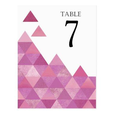 Geometric Triangles Table Numbers | lilac purple