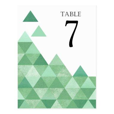 Geometric Triangles Table Numbers | mint green