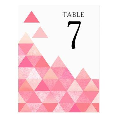 Geometric Triangles Table Numbers | pink mauve