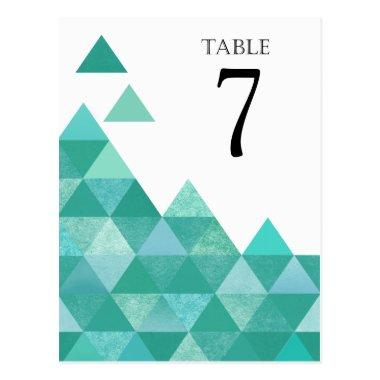 Geometric Triangles Table Numbers | teal