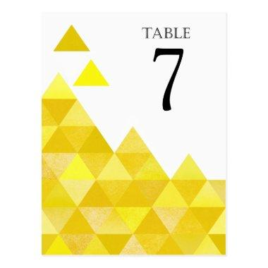 Geometric Triangles Table Numbers | yellow gold