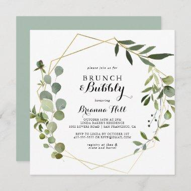 Geometric Tropical Brunch and Bubbly Bridal Shower Invitations