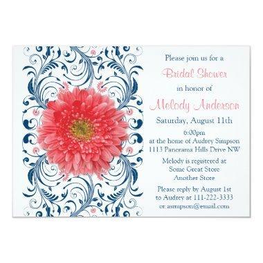 Gerbera Daisy Coral Navy Blue Floral Bridal Shower Invitations
