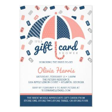 Gift Invitations Bridal Shower Invitation, Navy, Coral