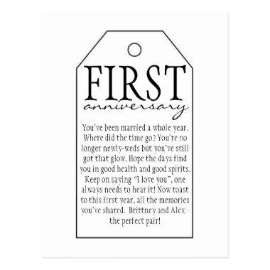 Gift Tag for Wine Bottle - First Anniversary Post