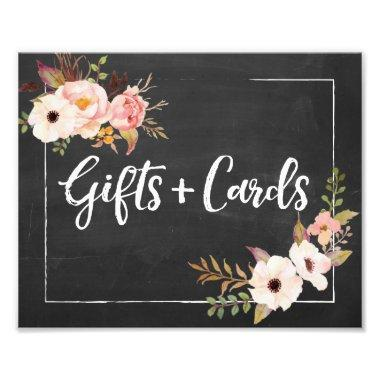 Gifts and  Rustic Floral Wedding Sign