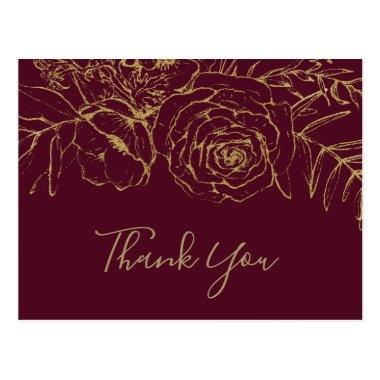 Gilded Floral Burgundy & Gold Thank You PostInvitations