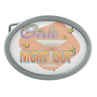 girls night out, last night out bachelorette party oval belt buckle