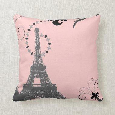 girly chic french country paris eiffel tower throw pillow