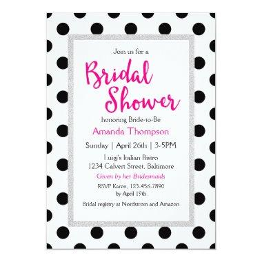 Girly Chic Polka Dots and Hot Pink Bridal Shower Invitations