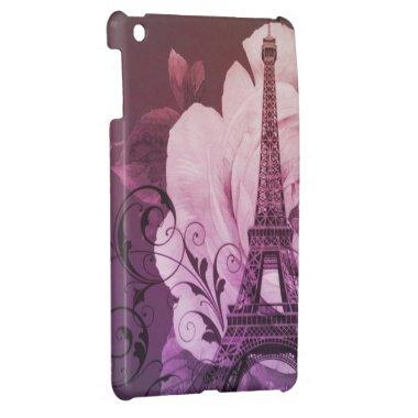 Girly chic purple floral Girly Paris Eiffel Tower Cover For The iPad Mini