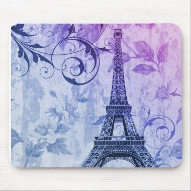 Girly chic purple floral Girly Paris Eiffel Tower Mouse Pad