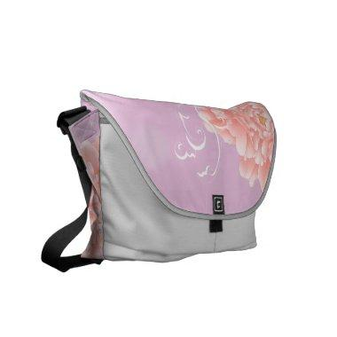 girly chic spring watercolor floral pink peony messenger bag
