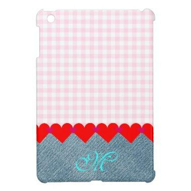 Girly Cute Monogram Pink Save the Date Denim Jeans Case For The iPad Mini