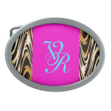 Girly Retro Pink Zigzag of Tiger Chevron Pattern Oval Belt Buckle