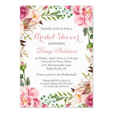 Girly Romantic Floral Wrap Wedding Bridal Shower Invitations