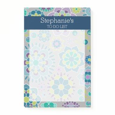 Girly To Do List Floral Pattern - Navy and Teal Post-it Notes