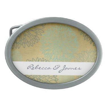 GLAMOROUS BLUE & GOLD DAHLIA PATTERN MONOGRAM OVAL BELT BUCKLE