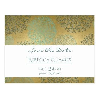 GLAMOROUS BLUE & GOLD DAHLIA PATTERN Save the date PostInvitations