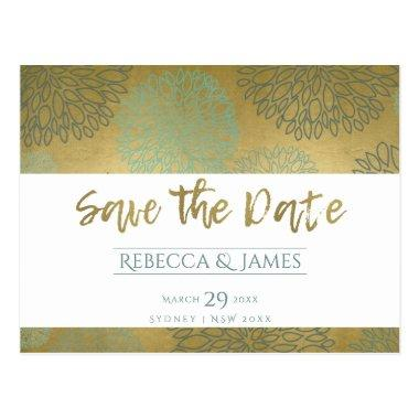 GLAMOROUS BLUE & GOLD DAHLIA PATTERN SAVE THE DATE POST