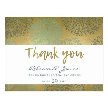 GLAMOROUS BLUE & GOLD DAHLIA PATTERN THANK YOU POSTInvitations