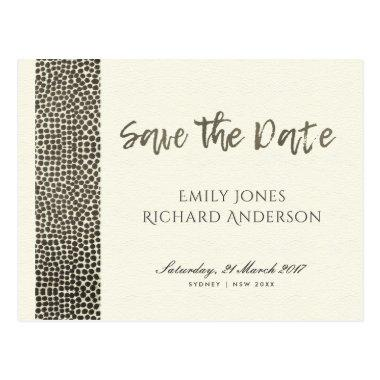 GLAMOROUS COPPER SILVER DOTS MOSAIC SAVE THE DATE POST