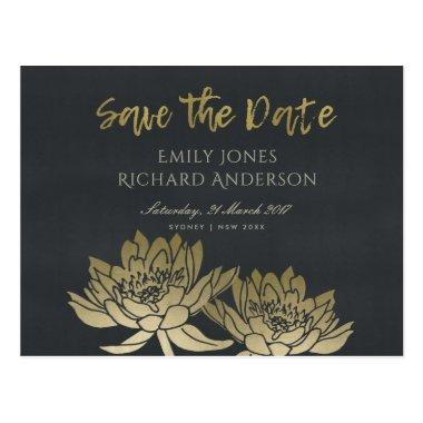 GLAMOROUS GOLD BLACK LOTUS FLORAL SAVE THE DATE POST