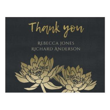 GLAMOROUS GOLD BLUE BLACK LOTUS FLORAL THANK YOU POST