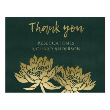 GLAMOROUS GOLD DARK GREEN LOTUS FLORAL THANK YOU POSTInvitations