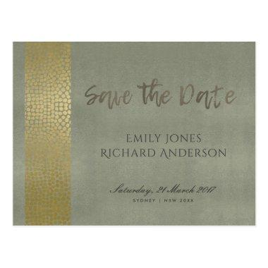 GLAMOROUS GOLD GREY DOTS MOSAIC SAVE THE DATE POST