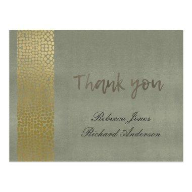 GLAMOROUS GOLD GREY DOTS MOSAIC THANK YOU POST