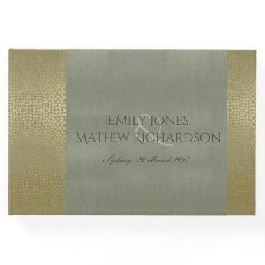 GLAMOROUS GOLD VELVET GREY MOSAIC DOT PERSONALISED GUEST BOOK