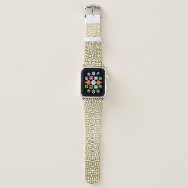 GLAMOROUS GOLD WHITE DOTS MOSAIC BOHO PATTERN APPLE WATCH BAND