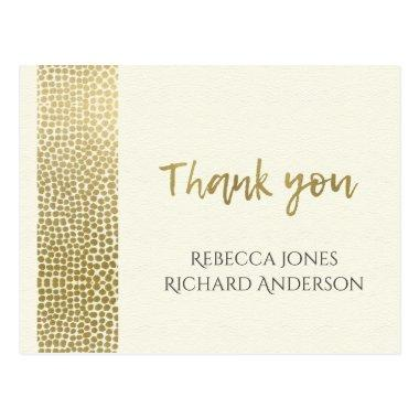 GLAMOROUS GOLD WHITE DOTS MOSAIC THANK YOU POST