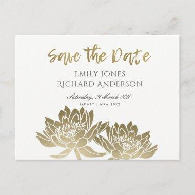 GLAMOROUS GOLD WHITE LOTUS FLORAL SAVE THE DATE ANNOUNCEMENT POSTInvitations