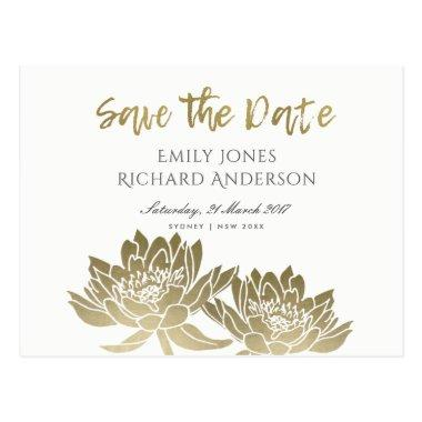 GLAMOROUS GOLD WHITE LOTUS FLORAL SAVE THE DATE POST
